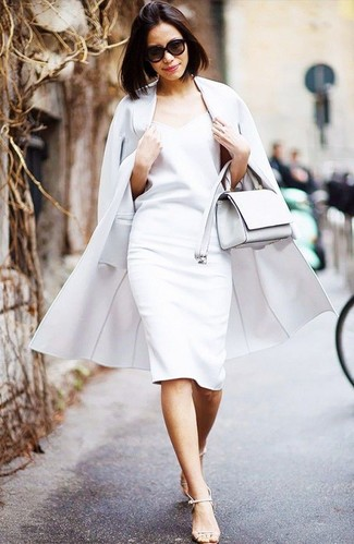 How to wear: white leather crossbody bag, beige leather heeled sandals, white sheath dress, white coat