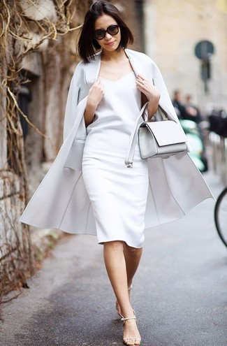 How to wear: white leather crossbody bag, beige leather heeled sandals, white sheath dress, grey coat