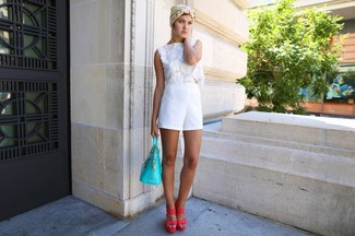 How to wear: aquamarine leather tote bag, hot pink leather heeled sandals, white shorts, white crochet cropped top
