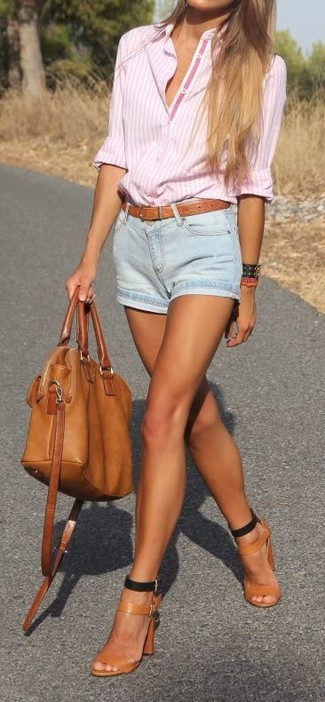 How to wear: tobacco leather tote bag, tobacco leather heeled sandals, light blue denim shorts, pink vertical striped dress shirt