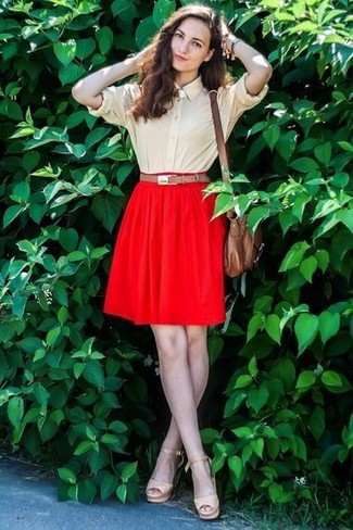 How to wear: brown leather crossbody bag, beige leather heeled sandals, red skater skirt, beige dress shirt