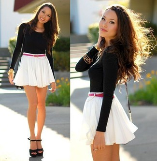 How to wear: black leather crossbody bag, black suede heeled sandals, white skater skirt, black long sleeve t-shirt