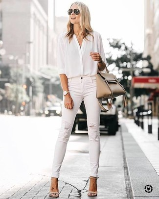 How to wear: tan leather tote bag, beige leather heeled sandals, white ripped skinny jeans, white silk button down blouse