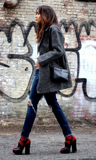How to wear: black leather crossbody bag, black chunky leather heeled sandals, blue ripped skinny jeans, charcoal coat