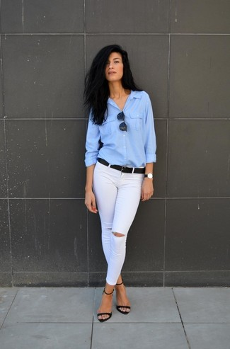 How to wear: black leather belt, black suede heeled sandals, white ripped skinny jeans, light blue dress shirt