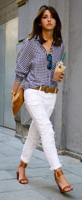 How to wear: tobacco leather clutch, tobacco leather heeled sandals, white ripped skinny jeans, white and navy gingham dress shirt