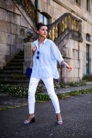 How to wear: blue leather crossbody bag, light blue leather heeled sandals, white ripped skinny jeans, light blue dress shirt