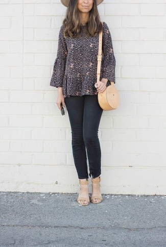 How to wear: tan leather crossbody bag, tan leather heeled sandals, black skinny jeans, black print long sleeve blouse
