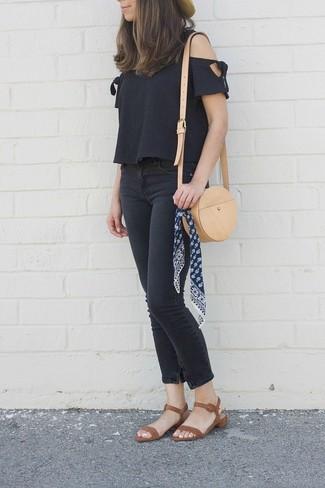 How to wear: tan leather crossbody bag, brown leather heeled sandals, black skinny jeans, black off shoulder top