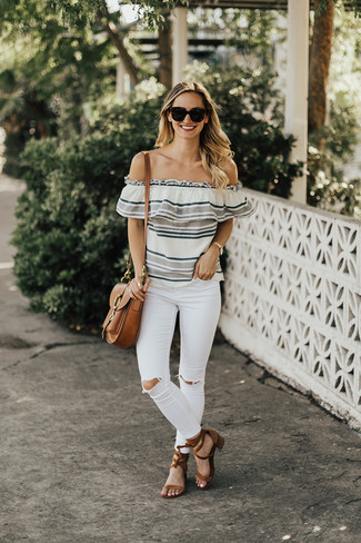 How to wear: brown leather satchel bag, brown suede heeled sandals, white ripped skinny jeans, grey horizontal striped off shoulder top