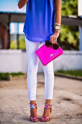 How to wear: hot pink leather clutch, hot pink floral leather heeled sandals, white skinny jeans, blue chiffon sleeveless top