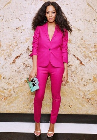 How to wear: mint clutch, beige leather heeled sandals, hot pink skinny pants, hot pink blazer