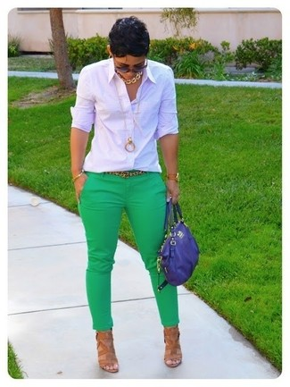 How to wear: blue leather satchel bag, tan leather heeled sandals, green skinny pants, white check dress shirt