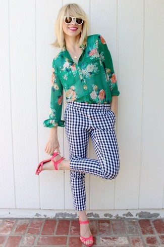How to wear: white sunglasses, hot pink leather heeled sandals, white and navy check skinny pants, green floral dress shirt