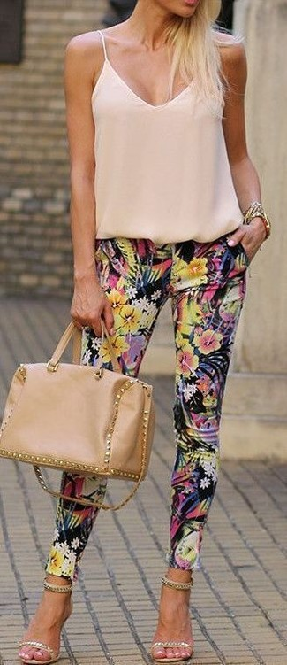 How to wear: tan leather satchel bag, beige embellished suede heeled sandals, black floral skinny pants, beige silk tank