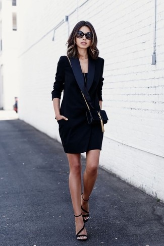 How to wear: black suede crossbody bag, black suede heeled sandals, black tank, black tuxedo dress