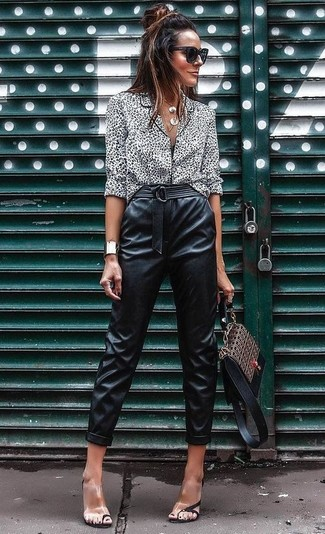 How to Wear Clear Rubber Heeled Sandals: A white and black leopard button down blouse and black leather tapered pants are a wonderful combination worth having in your day-to-day casual routine. If not sure about what to wear in the shoe department, add a pair of clear rubber heeled sandals to your ensemble.