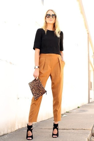 How to wear: tan leopard suede clutch, black suede heeled sandals, tobacco tapered pants, black cropped top