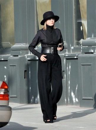 How to wear: black wool hat, black suede heeled sandals, black wide leg pants, black dress shirt
