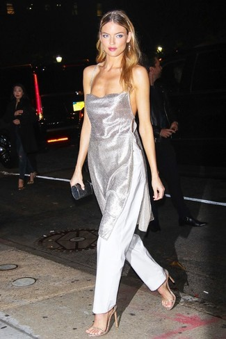 Women's Looks & Outfits: What To Wear In 2020: Reach for a silver tunic and white wide leg pants for a totaly stylish ensemble. Add a pair of gold leather heeled sandals to the mix et voila, the outfit is complete.