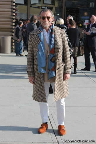 How to wear: white chinos, white henley shirt, tan blazer, camel houndstooth overcoat