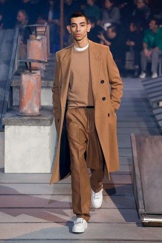 How to wear: brown dress pants, white henley shirt, tan crew-neck sweater, camel overcoat