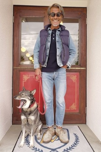 How to wear: light blue jeans, navy henley shirt, light blue denim jacket, violet quilted gilet