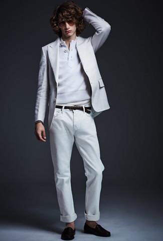 How to wear: white jeans, white henley shirt, white henley sweater, white blazer