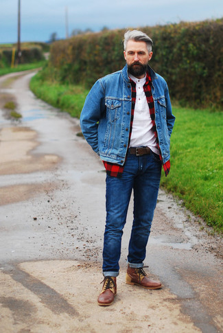 How to wear: navy jeans, white henley shirt, red and black check long sleeve shirt, blue denim jacket