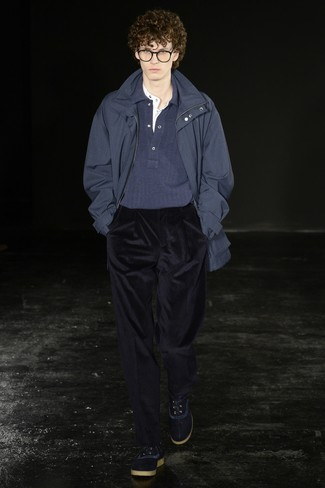 How to wear: navy corduroy dress pants, white henley shirt, navy polo neck sweater, navy parka
