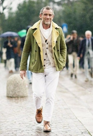 How to wear: white chinos, white henley shirt, beige shawl cardigan, olive military jacket