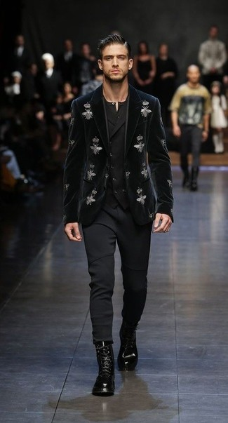 How to wear: black sweatpants, black henley shirt, black waistcoat, black embroidered velvet blazer