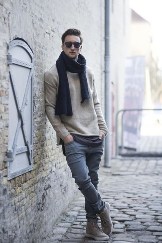 How to wear: navy scarf, grey high top sneakers, grey chinos, beige crew-neck sweater