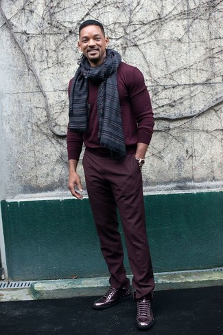 Slouch Fit Trousers In Burgundy Velour
