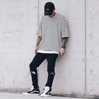 How to wear: black baseball cap, black and white high top sneakers, black ripped jeans, white and black horizontal striped crew-neck t-shirt