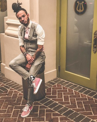 How to wear: pink tie, pink high top sneakers, white long sleeve shirt, beige plaid waistcoat