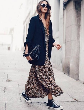 How to wear: black leather satchel bag, black and white canvas high top sneakers, tan leopard maxi dress, black blazer