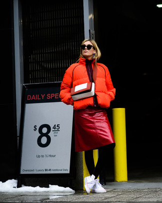 How to wear: red leather crossbody bag, white canvas high top sneakers, red leather pencil skirt, orange puffer jacket