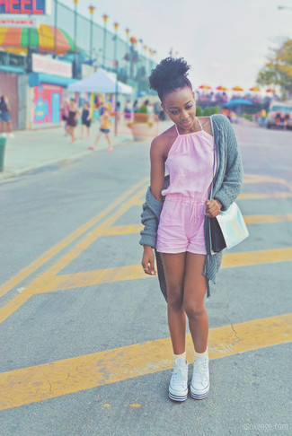 How to wear: silver leather crossbody bag, white canvas high top sneakers, pink playsuit, grey knit open cardigan