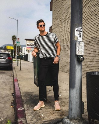 How to wear: black sunglasses, pink canvas high top sneakers, black skinny jeans, white and black horizontal striped crew-neck t-shirt