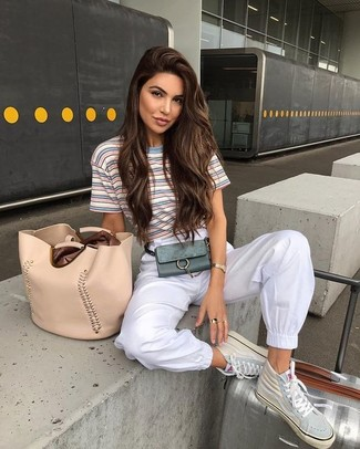 Women's Beige Leather Tote Bag, Beige Leather High Top Sneakers, White Sweatpants, Light Blue Horizontal Striped Crew-neck T-shirt