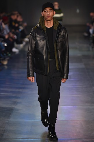 How to wear: black chinos, olive hoodie, black crew-neck sweater, black leather field jacket