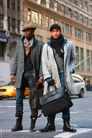 How to Wear a Black Knit Scarf For Men: For a casual look, make a grey overcoat and a black knit scarf your outfit choice — these two pieces work nicely together. Hesitant about how to finish your ensemble? Finish with black leather casual boots to turn up the style factor.