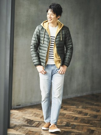 How to wear: light blue jeans, mustard hoodie, white and black horizontal striped crew-neck sweater, dark green puffer jacket