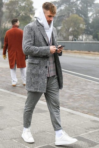 How to wear: grey wool chinos, white hoodie, grey plaid double breasted blazer, grey plaid overcoat