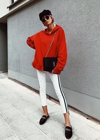 Marry a red hoodie with a black cap if you're scouting for an outfit idea for when you want to look casually cool. A pair of black suede loafers will add some real flair to this getup. We're loving how this ensemble gets you excited for chillier weather in next to no time.