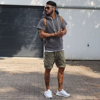 How to wear: charcoal hoodie, white tank, olive shorts, white athletic shoes