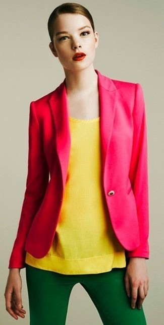 How to wear: hot pink blazer, yellow sleeveless top, green skinny pants