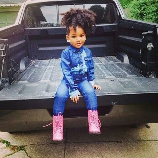 How to Wear a Blue Denim Jacket For Girls: Dress your mini fashionista in a blue denim jacket and blue jeans for a glam and trendy getup. Hot pink boots are a wonderful choice to round off this look.