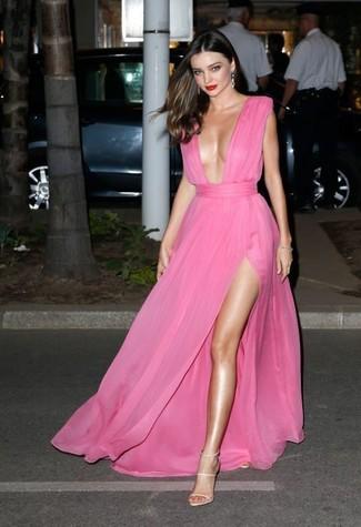 Miranda Kerr wearing Hot Pink Chiffon Evening Dress, Beige Leather Heeled Sandals, Silver Earrings